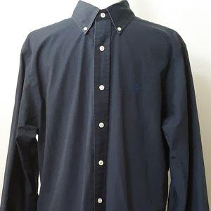 Polo | Men's Dark Blue Custom Fit Button Up | L
